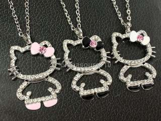 hello kitty cat swarovski crystal girls long chain necklace CH4070