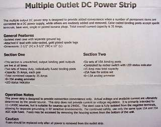 Multiple DC Outlet Power Strip with 15 & 35 Amp Meters