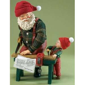 Dreams Clothtique *BEST LAID PLANS* Santa & Little Boy Make Sled