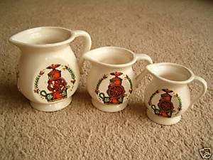 ART POTTERY Marked Measuring JUG Cup set of 3 Retro COFFEE GRINDER V.G