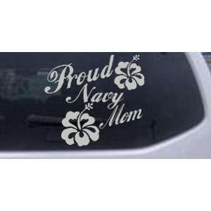 com Silver 22in X 23.8in    Proud Navy Mom Hibiscus Flowers Military