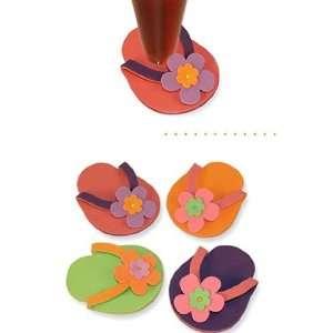 Tiki Flip Flop Shoe Glass Coaster Set