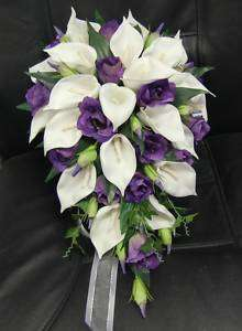 Silk Flower Petals on Wedding Bouquet Flowers Bouquets Silk Teardrop White Calla Lily Purple