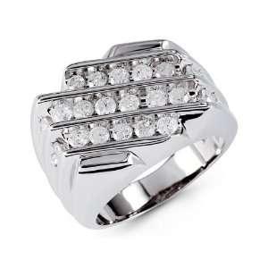 Mens Fashion 14k White Gold 2.00 Ct Round Diamond Ring