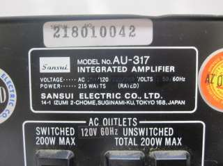 Sansui AU 317 2 Channel Stereo Integrated Amplifier Audio Amp
