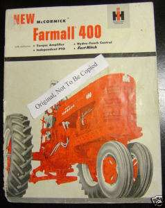 IH International Harvester Farmall 400 Tractor Sales Brochure Orig