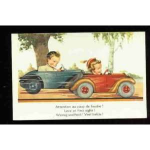 postcard BELGIQUE    LOVE AT FIRST SIGHT Boy & Girl in Cars