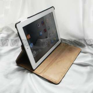 The New iPad 3 Smart Magnetic Leather Rotating Case Cover 360 Degree