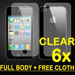 FRONT + BACK (FULL BODY) Screen Cover Shield Protector iPhone 4 4S 4G