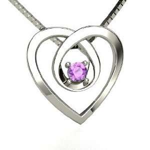 Infinite Heart Pendant, 14K White Gold Necklace with Amethyst