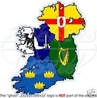 IRELAND Irish Provinces Map Flag Vinyl Bumper Sticker   Decal 128mm (5