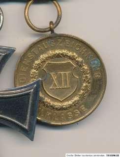 ORIGINAL german 3 medal bar Iron Cross EK2 and CROWN Military Cross