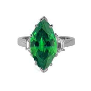 Marquise Cut Emerald & VS Diamond Engagement Ring 18k Gold Jewelry