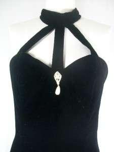 Jessica McClintock Blk Velvet Sweetheart Full Length Gown/Dress 11/12