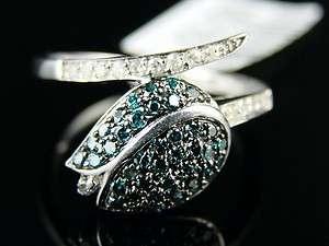 LADIES UNIQUE BLUE/WHITE DIAMOND LEAF BAND RING .50 CT