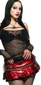 Lip Service pleated micro mini skirt XS goth gothic PVC belt black