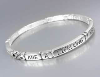 INSPIRATIONAL Thin 4mm FRIENDS ARE A LIFELONG TREASURE Links Stretch