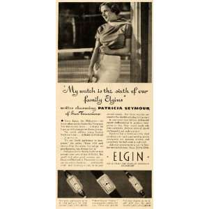 Ad Elgin National Watch Co Patricia Seymour Jewel   Original Print Ad