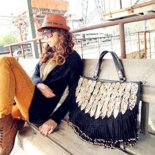Leopard Tassels Laptop Satchel Bag Womens Faux Leather Shoulder bag