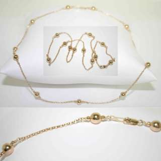 14K yellow gold HIGH POLISHED BEAD necklace ROLO CHAIN