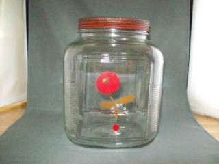 Vintage Glass Cookie Cracker Peanut Jar tin lid Lance