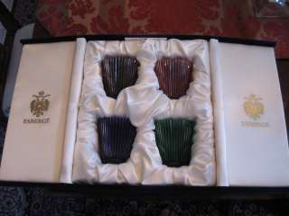 NEW FABERGE HEAVY CUT CRYSTAL GLASSES BLUE, PURPLE, RED AND GREEN IN