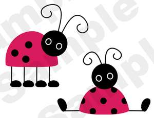 LADYBUGS LADY BUGS PINK RED NURSERY BABY GIRL CHILDRENS WALL ART