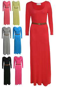 NEW LADIES WOMEN LONG SLEEVE MAXI DRESS WITH BELT BLACK,FUSHIA,GREY