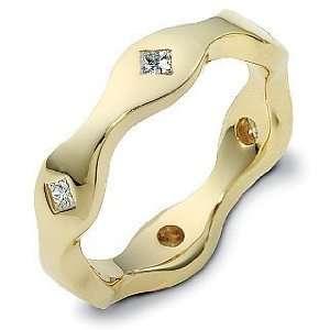 Ladies Designer 14 Karat Yellow Gold Diamond Wedding Band