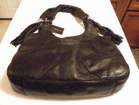 NEW $428 BCBG MAXAZRIA BLACK LEATHER HOBO BAG SATCHEL