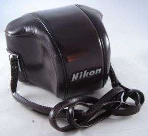 Nikon Nippon Kogaku brown leather fitted camera case with strap