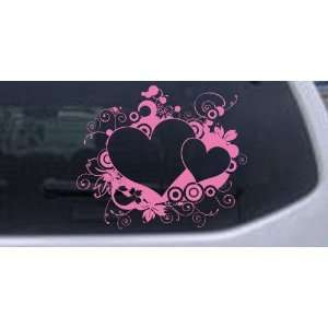 10in X 8.5in Pink    Hearts With Swirls Car Window Wall Laptop Decal