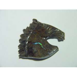 Boulder Opal horse head bust Lapidary Carving