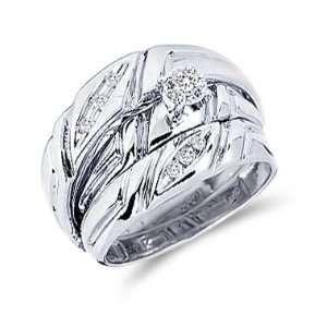 Diamond Engagement Rings Set Wedding Bands White Gold Men Ladies .15ct