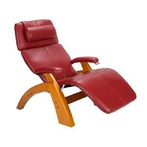 Manual Zero Gravity Recliner with Maple Base, Red Bonded Leather