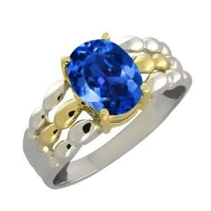 Azotic Blue Mystic Topaz Sterling Silver 10k Yellow Gold Ring Jewelry