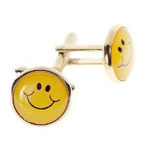 Gold plated happy face smile cufflinks with presentation box. Made in