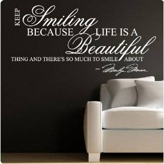 Marilyn Monroe White Keep Smiling   WALL STICKER DECAL QUOTE ART MURAL