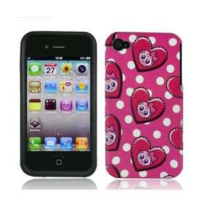 4S 4 S Pink and White Polka Dots with Cute Skulls Love Hearts Design