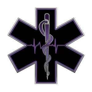 Purple EMT EMS Star Of Life With Heartbeat   2 h
