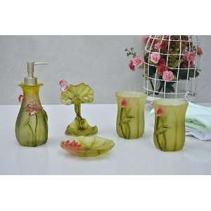 5 Piece Floral Bathroom Accessory Set Tumblers,soap Dish
