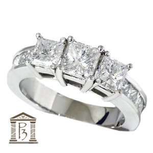 SALE 2.00CT Princess Cut Diamond Engagement Ring Channel Set 3 Stone