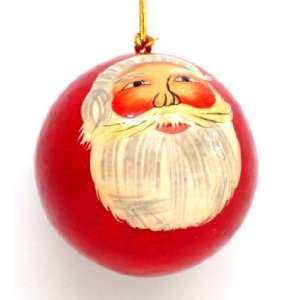 Hand Painted Paper Mache Christmas Ornament  Santa