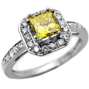 1.10ct Canary Yellow Princess Cut Diamond Ring in 14k