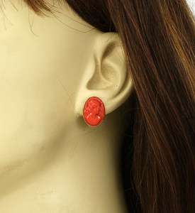VICTORIAN 14K GOLD & HAND CARVED CORAL CAMEO EARRINGS