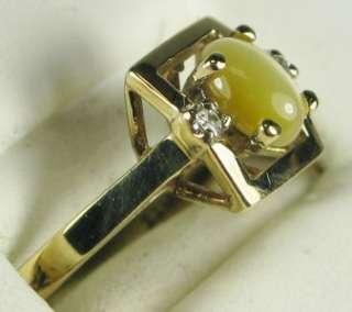 10K Yellow Gold .70ctw Cats Eye & G VS Diamond Ring Size 6 3/4