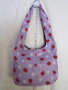 Lady Bugs Fabric Design Print Tie Hobo Bag Tote #M9