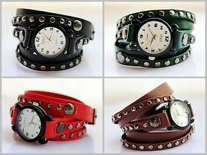 Mens Leather Studded Wrap Cuff Watch Strap Rocker Rivet Goth Bracelets