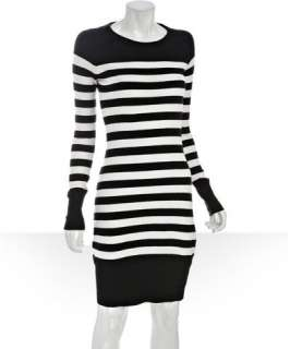 Qi white and black striped cotton cashmere sweater dress