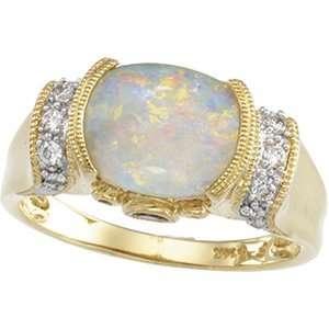 Yellow Gold Cab Opal, Pink Tourmaline & Diamond Ring